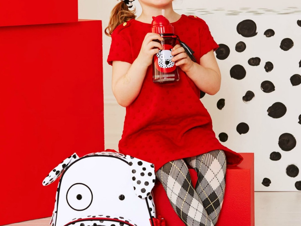girl with dalmation water bottle