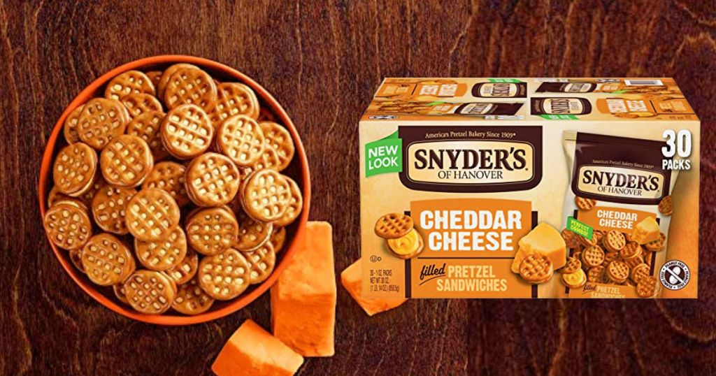 Snyder's of Hanover Pretzel Sandwiches in a bowl and box