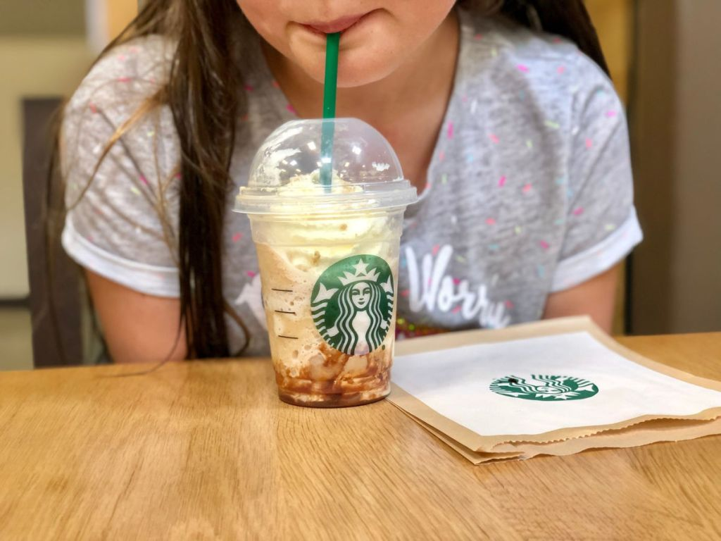 girl drinking starbucks frap