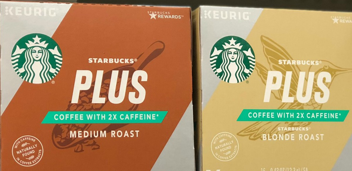 two boxes of Starbucks Plus Coffee K-Cups on shelf