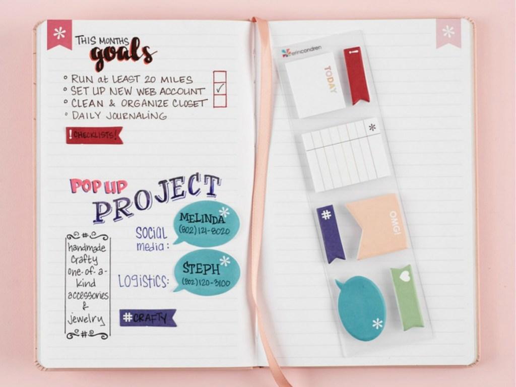 Sticky notes on journal