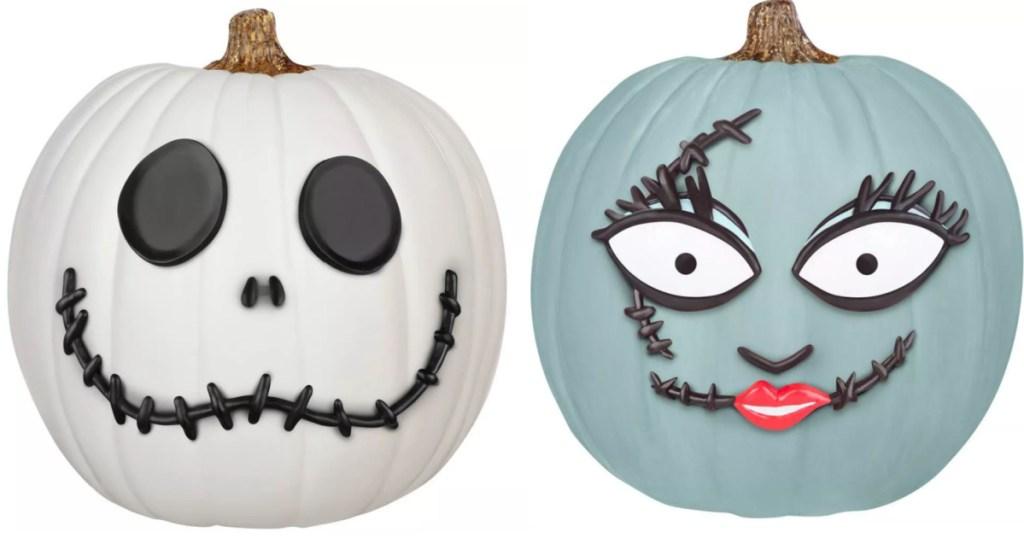 pumpkins decorated like Nightmare before Christmas Sally and Jack Wellington