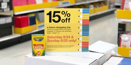 Rare 15% Off Target Purchase Coupon w/ $10 School Supplies Purchase (In-Store Only)