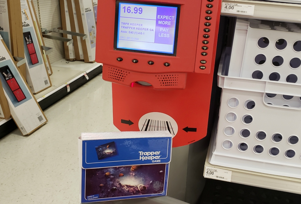 Target price scanner showing Trapper Keeper