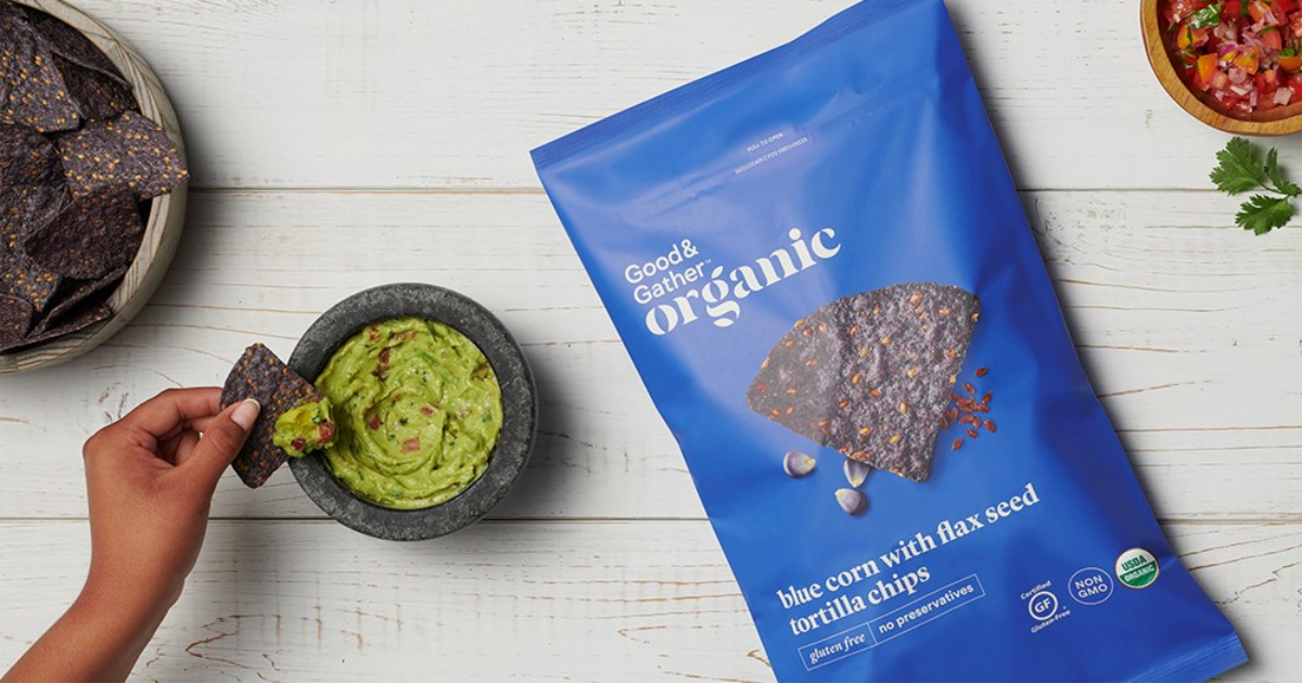 Target Good & Gather blue chips and guacamole