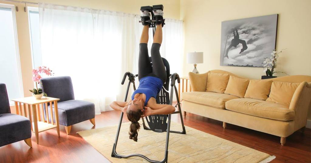 woman on inversion table