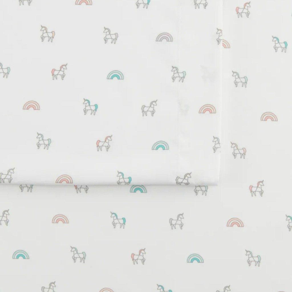The Big One brand sheets with a unicorn print on from Kohl's