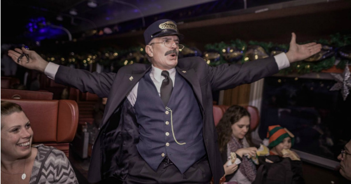 Train conductor singing on The Polar Express Train