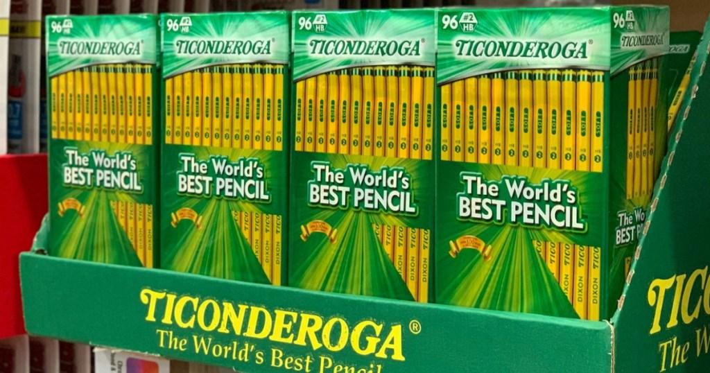 display of Ticonderoga pencils