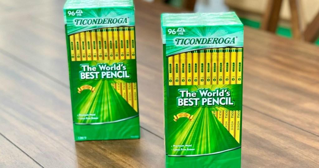 Ticonderoga Pencils 96-count on table