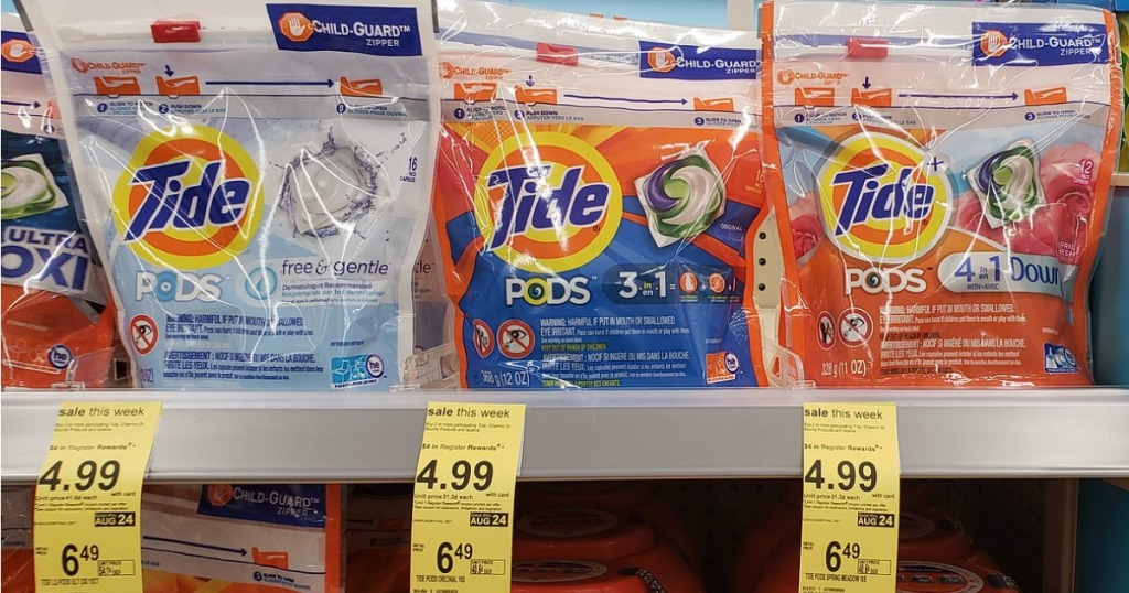 Tide Pods on Walgreens shelf with $4.99 sale tag