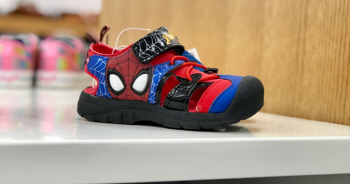 spiderman shoes on display at target