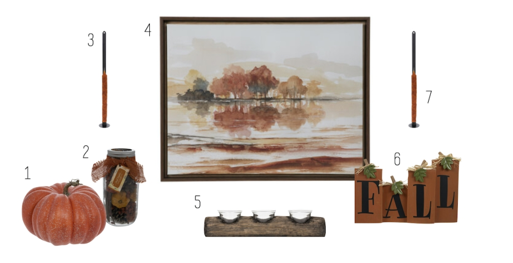 traditional fall home decor on stock white background