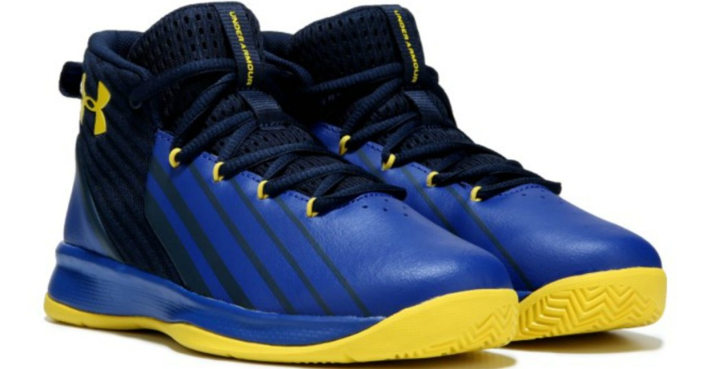 blue, yellow and black under Armour shoes