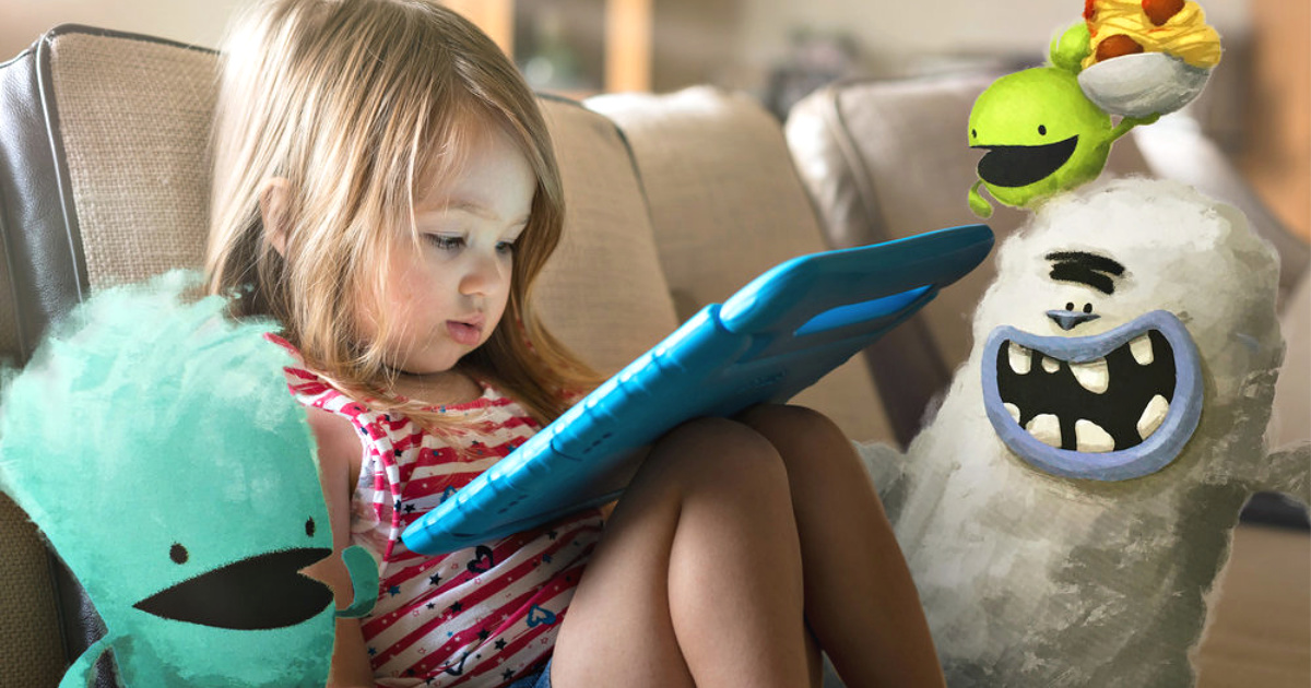 girl watching vooks on tablet