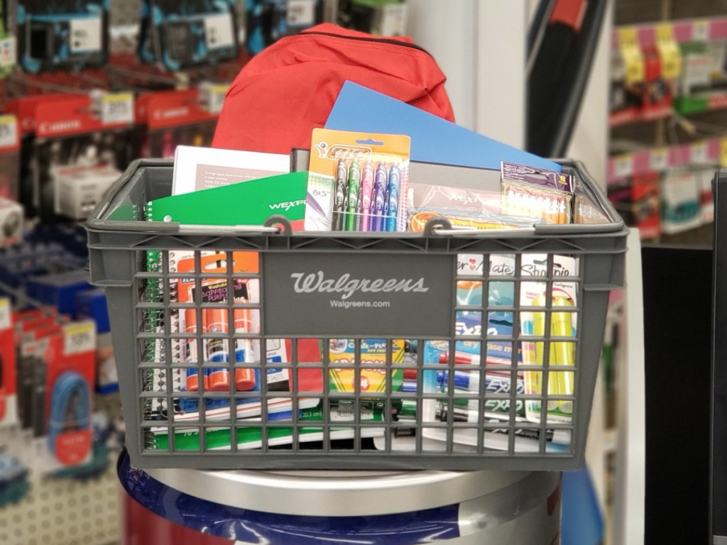 Basket filled with school supplies at Walgreens