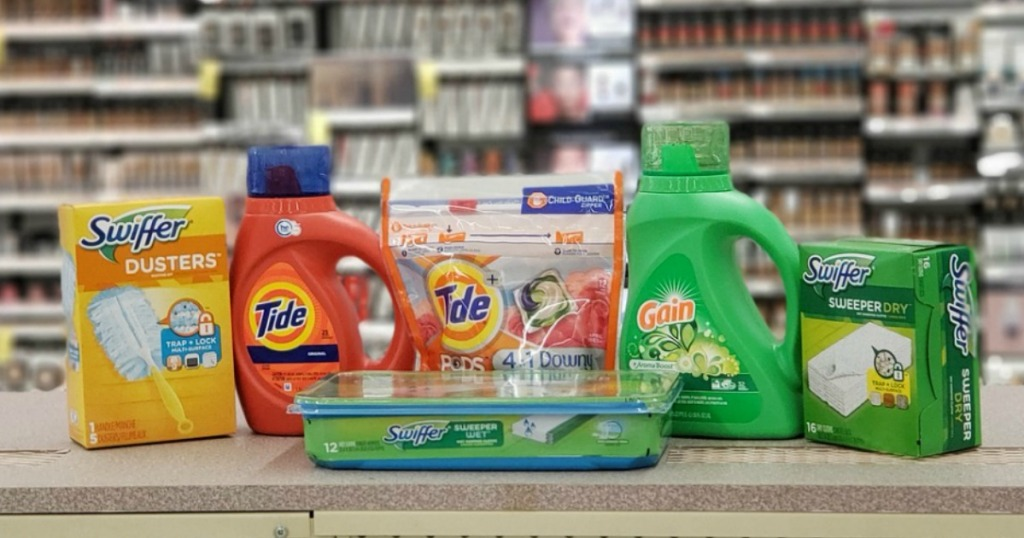 P&G brand household essentials on Walgreens counter