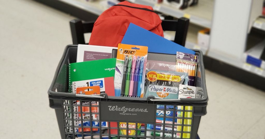 Assorted School Supplies in Walgreens basket