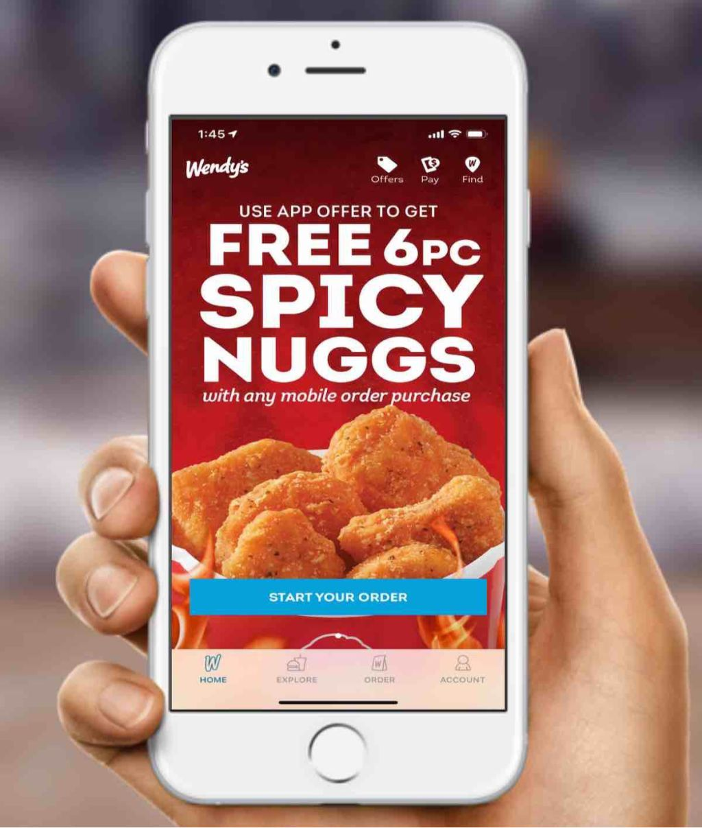 wendys spicy nuggets screen shot on phone
