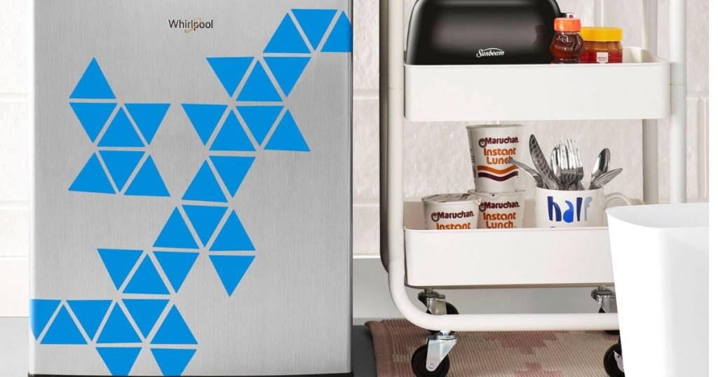 whirepool stainless steel mini fridge