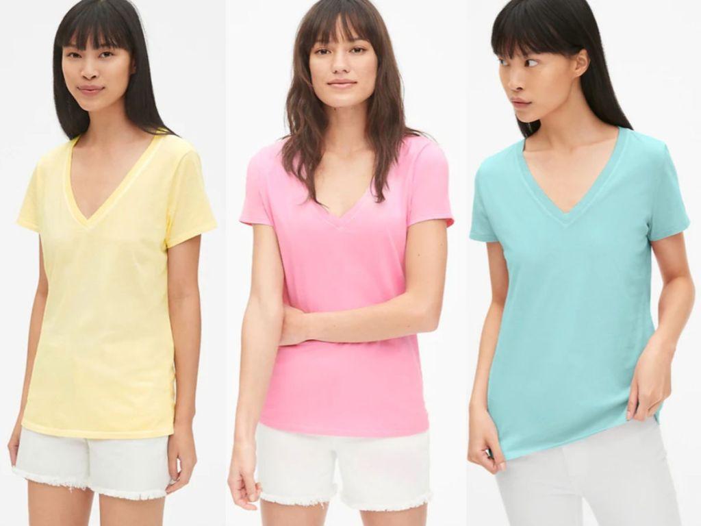 Women's Gap Vintage Wash V-neck T-Shirt