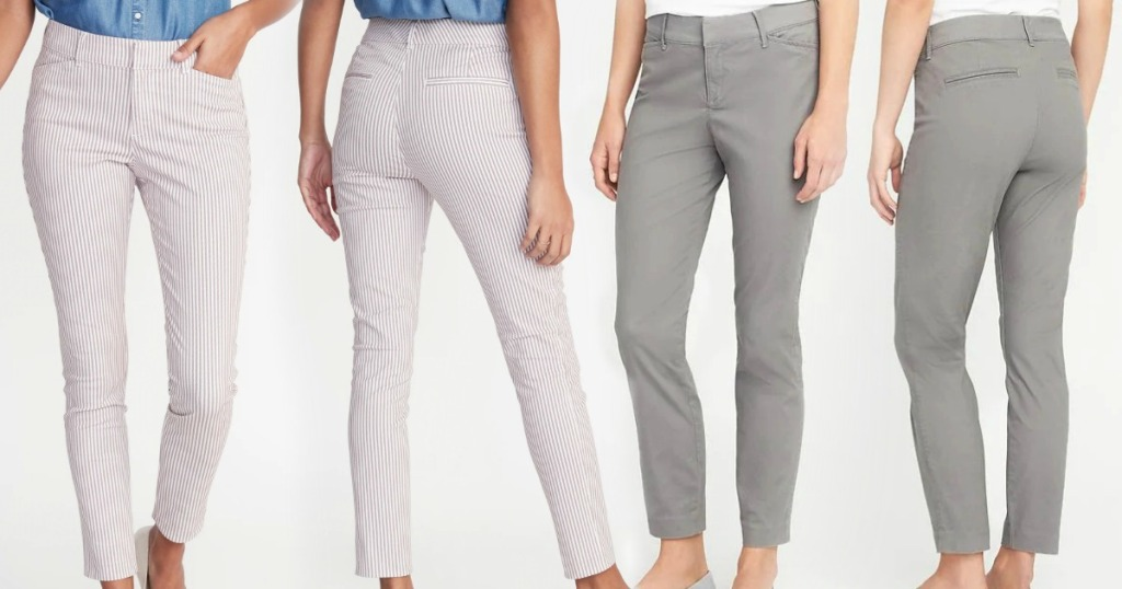 Two styles and various angles of Women's chino style pants