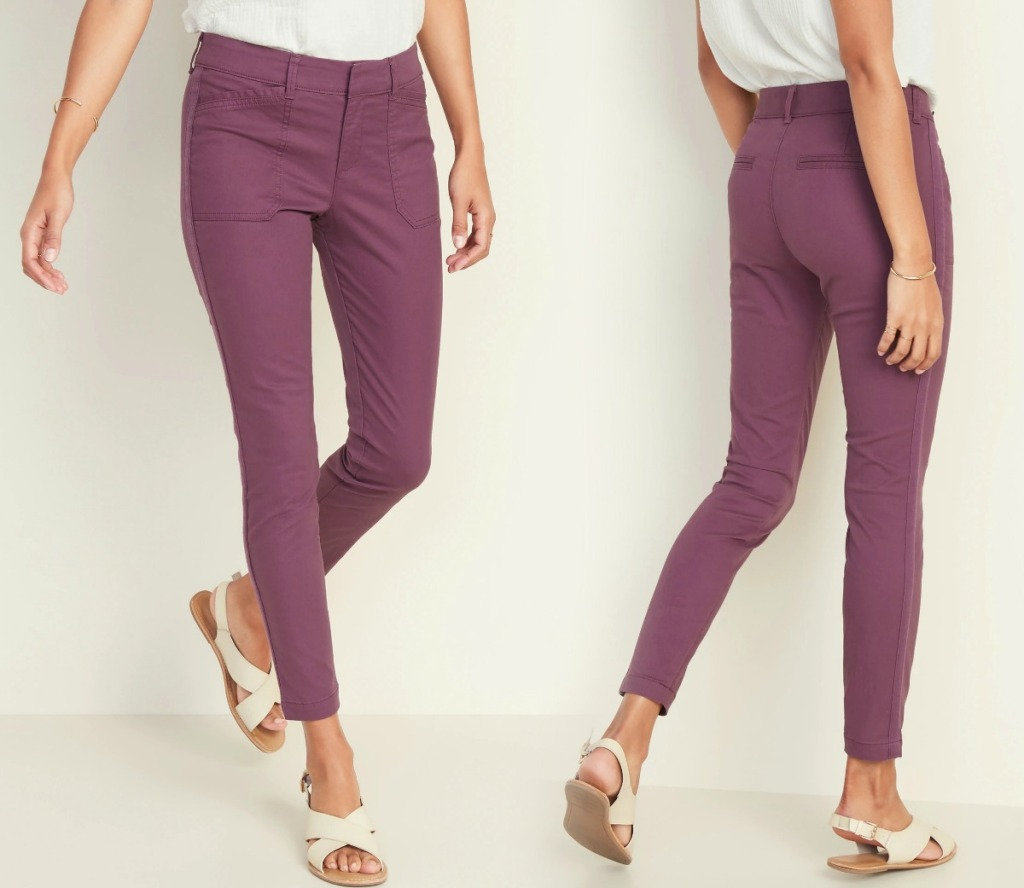 Woman wearing berry colored chino pants from Old Navy