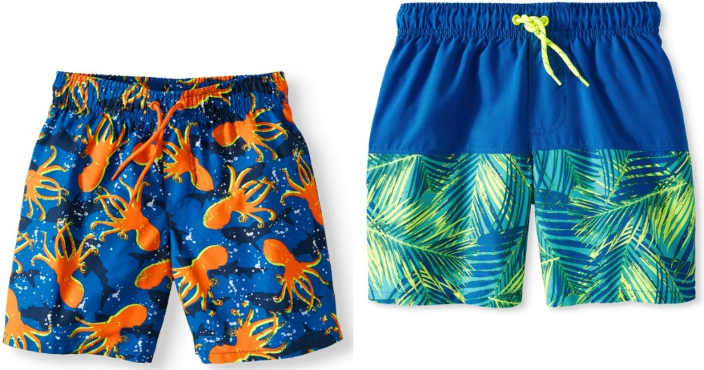 swim trunks in fish or palm leaves