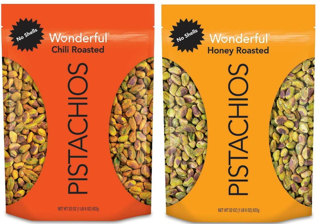 Two flavors of LARGE bags of Wonderful Pistachios with No Shells