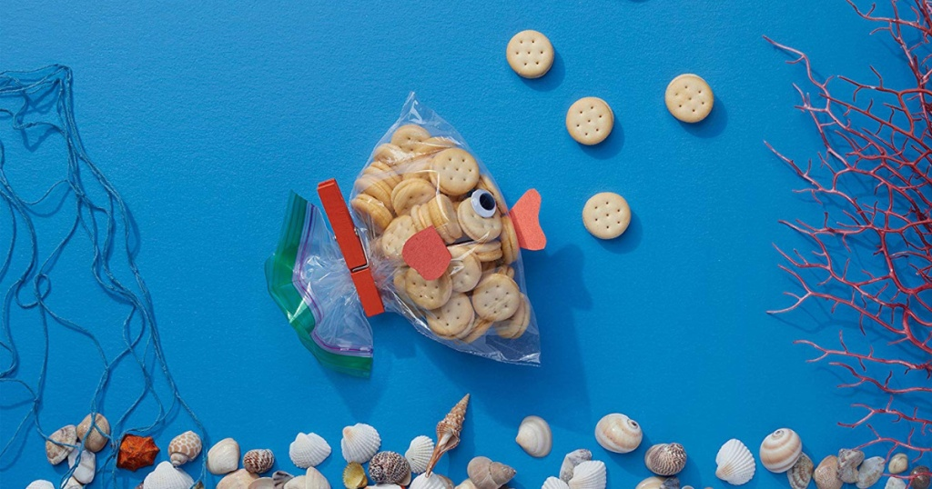 snacks in ziploc bag shaped like fish