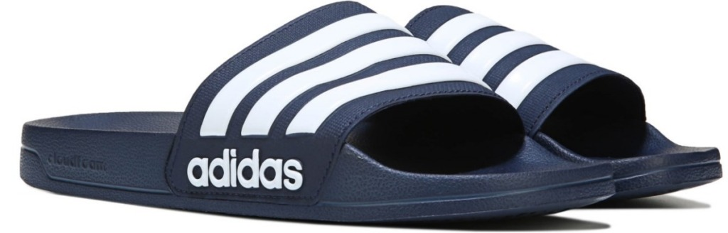 navy and white adidas Men's Adilette Shower Slide Sandals
