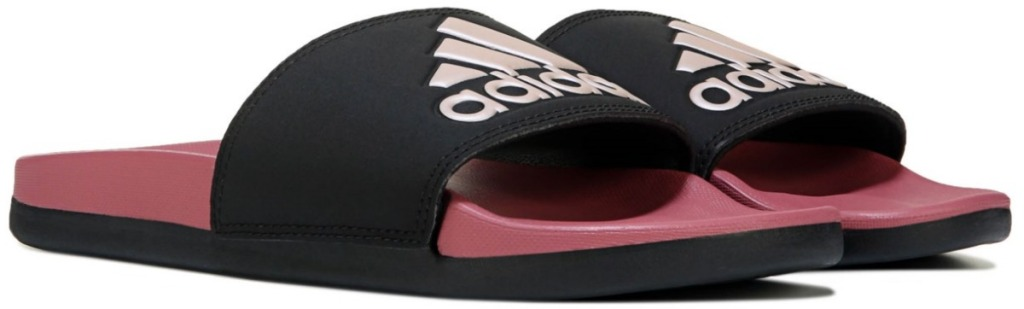 black and pink adidas Women's Adilette Slide Sandals