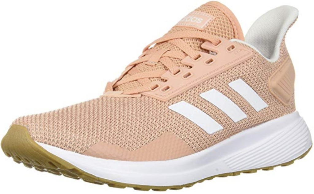 Dusty Rose colored Women's adidas running shoe with white stripes