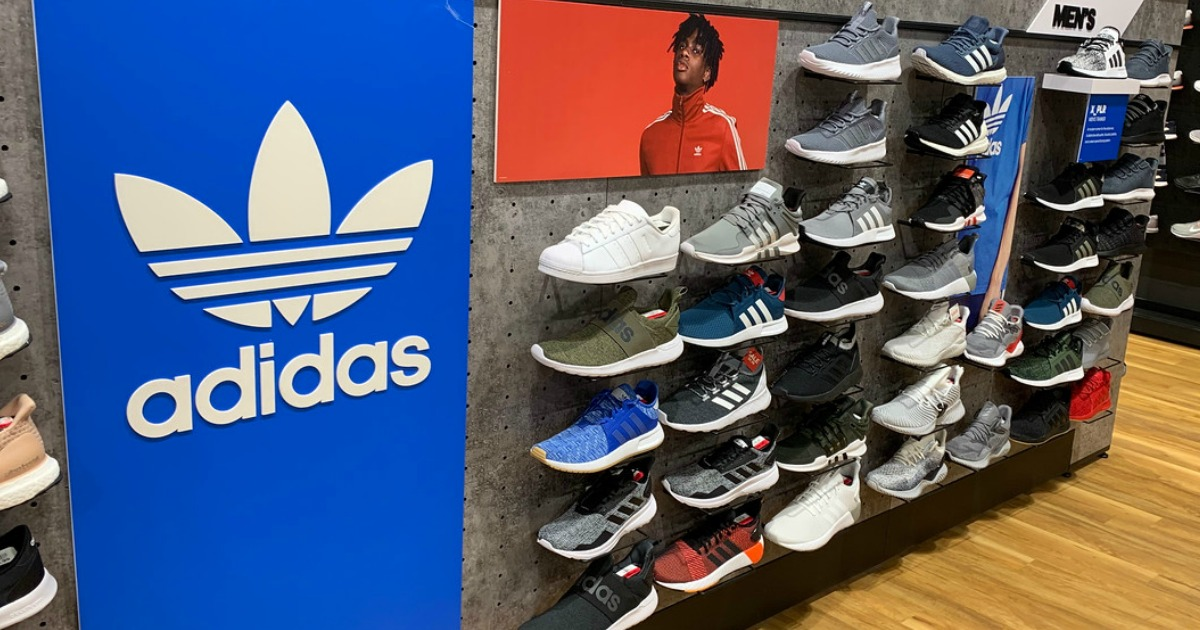 wall of shoes in store