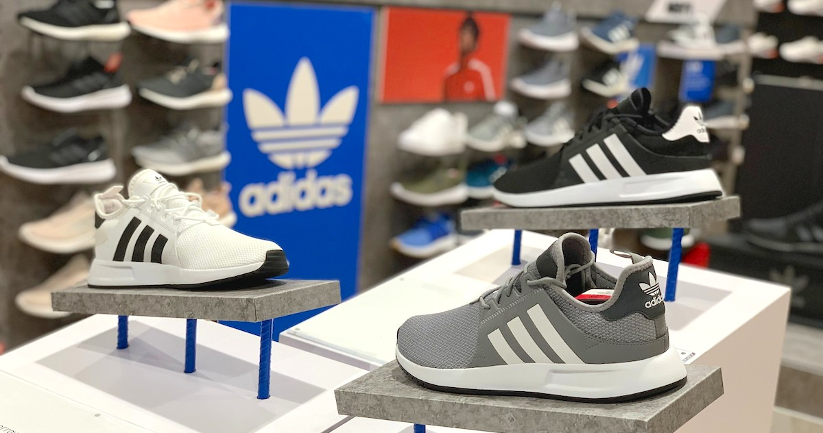 adidas sneakers on display in store