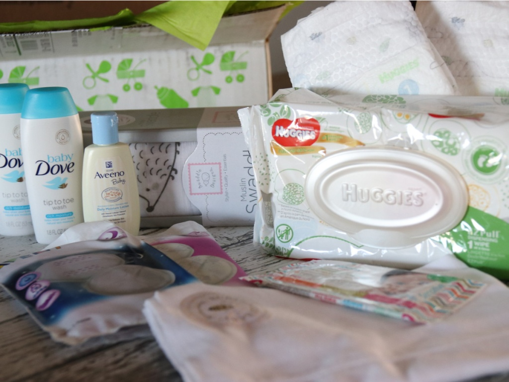amazon baby welcome box contents displayed