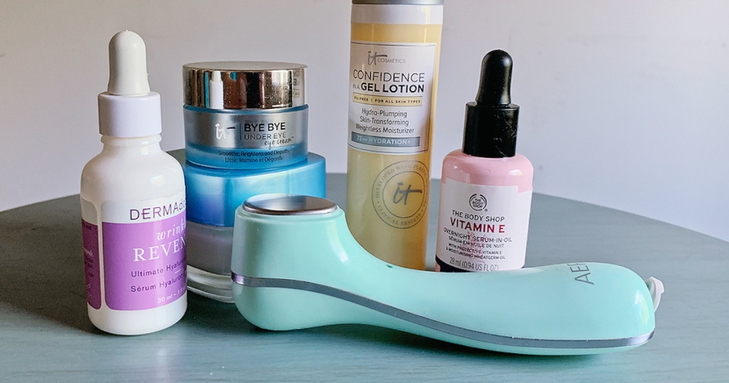 various beauty products sitting on countertop
