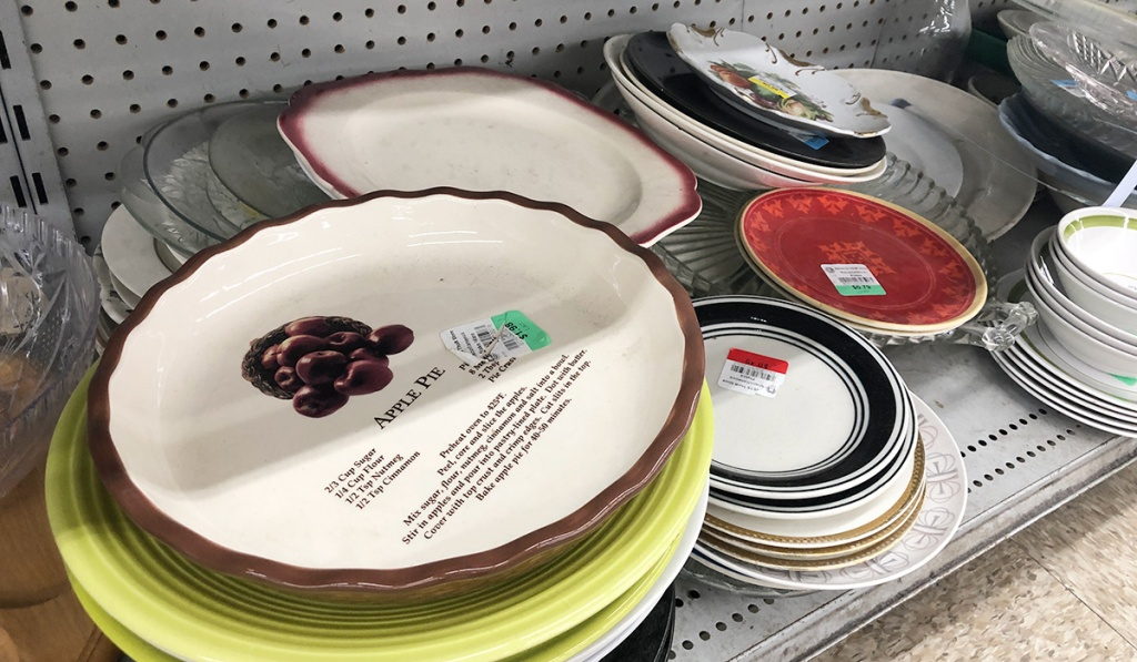 pie plate and serveware at thrift store