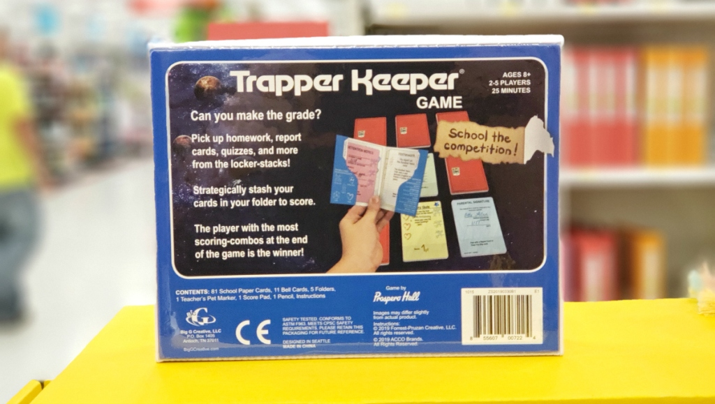 back of Trapper Keeper Game box
