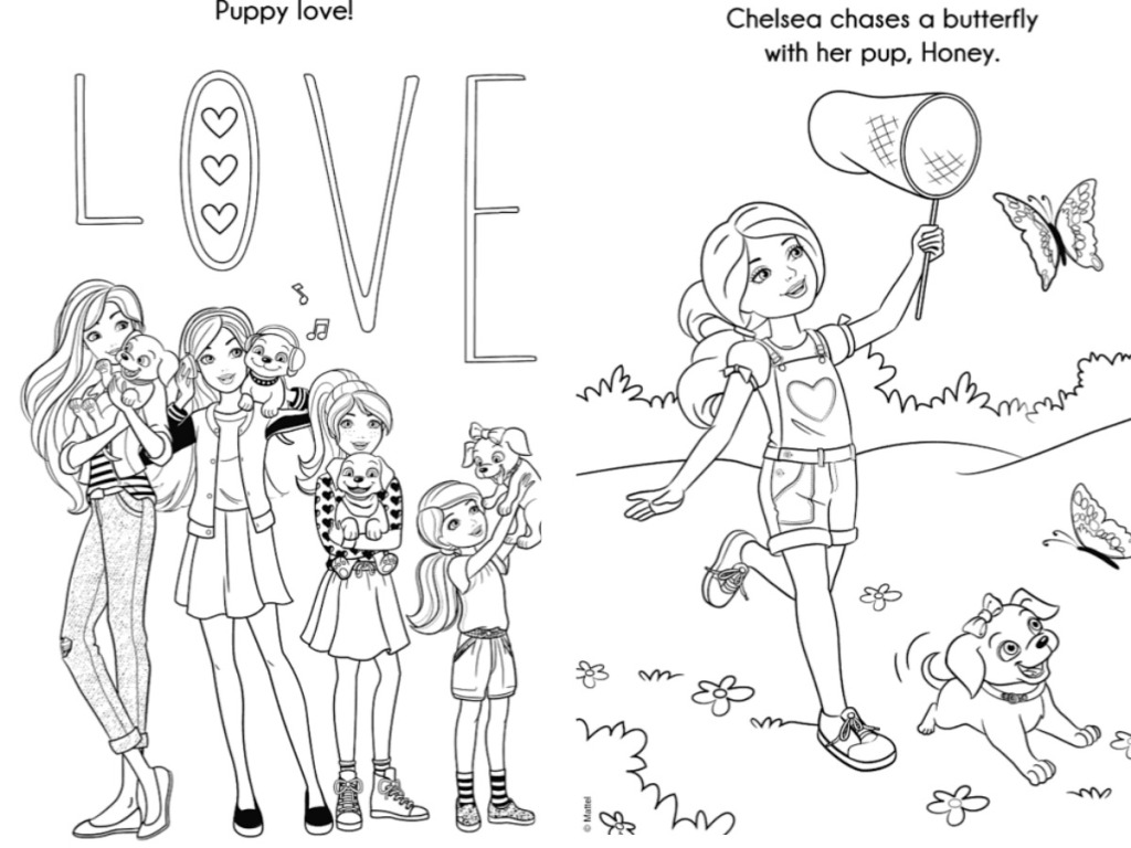 barbie coloring book pages of barbie and pets