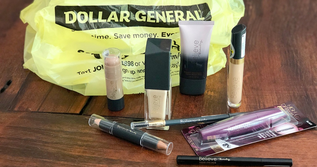 believe beauty from dollar general makeup products and bag