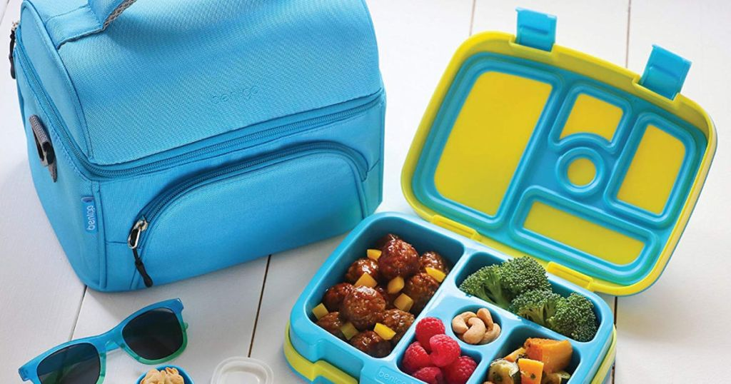blue and green bengto kids box and blue lunch box
