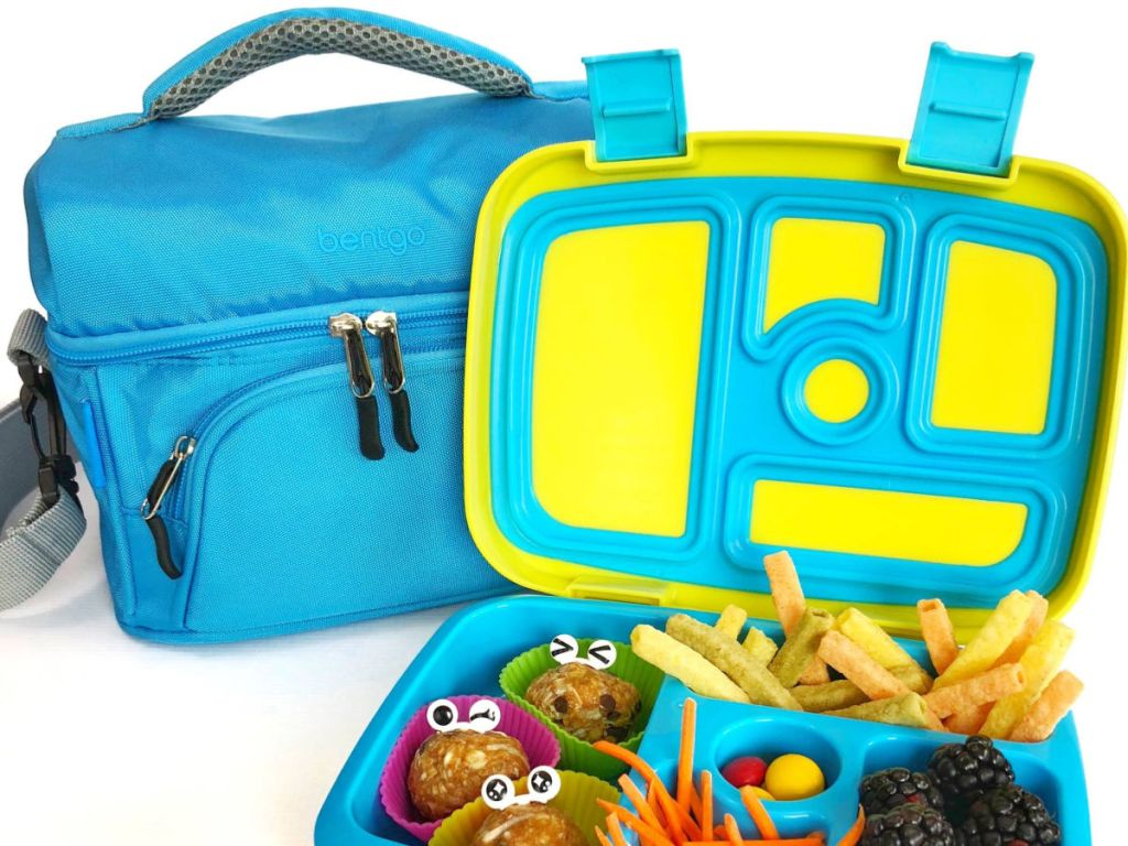 bentgo blue lunch bag with blue and green bentgo box