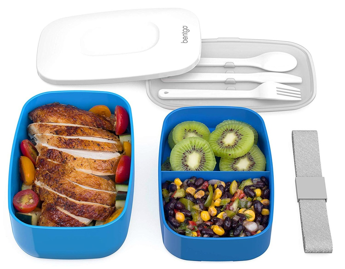 contents of bentgo stackable bento lunch box in blue