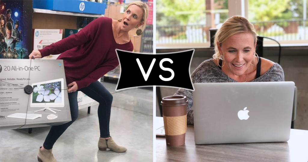 comparison photo of collin in store fighting over computer vs being at home shopping from computer