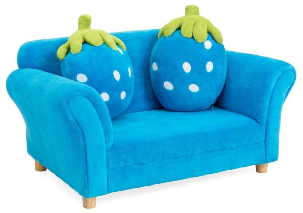 blue kids sofa with strawberry shaped pillows