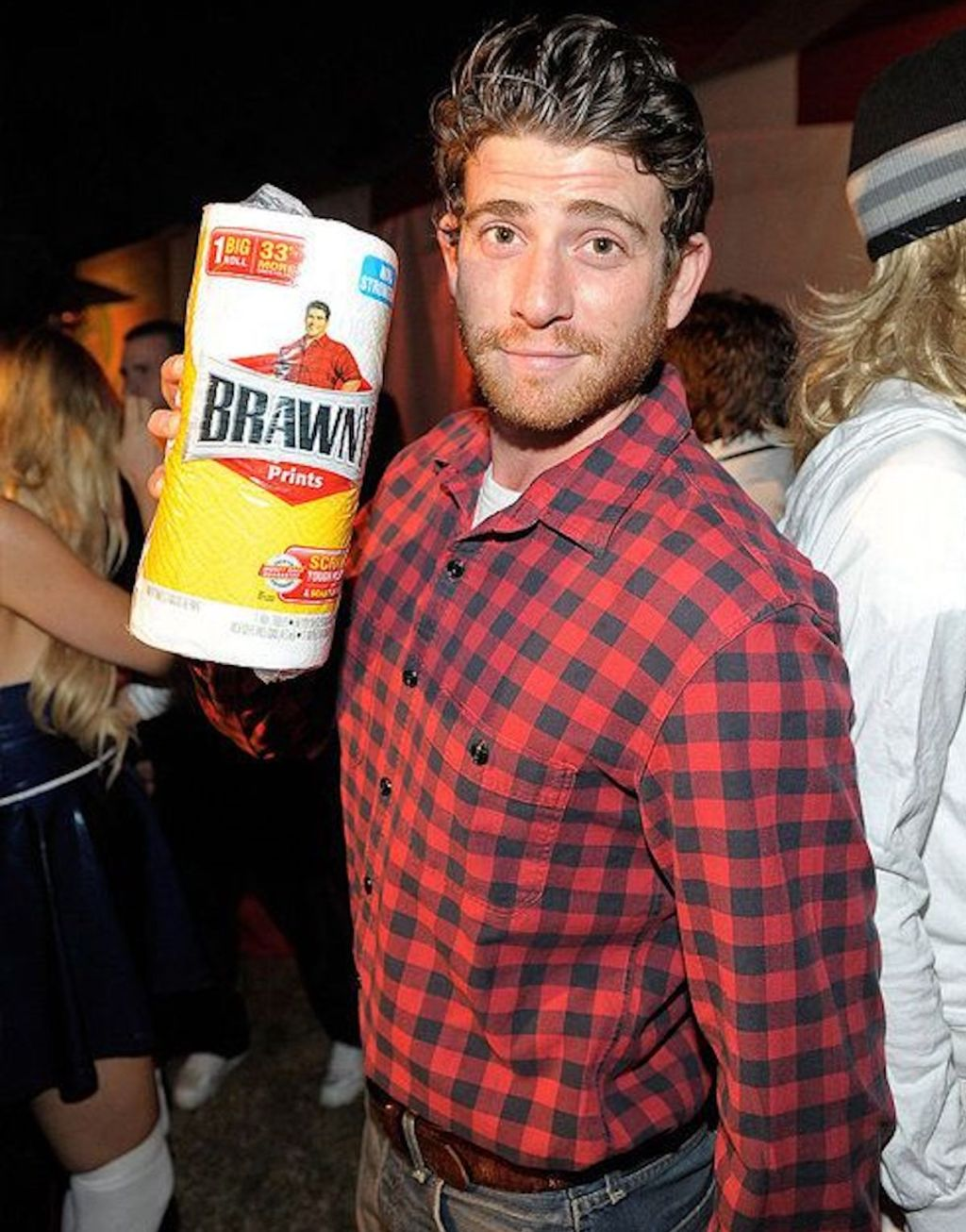 man wearing red flannel shirt and brawny paper towels