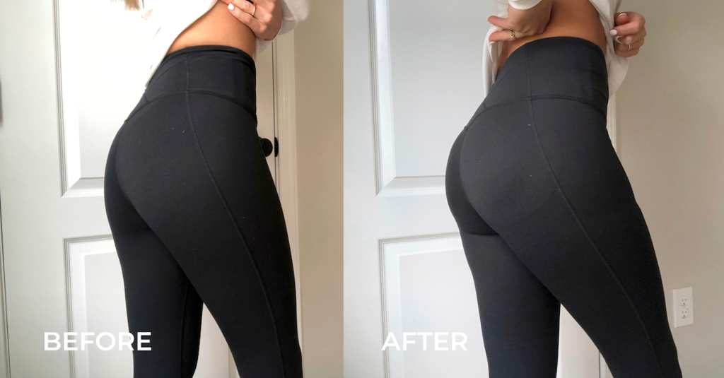 before and after of butt enhancer wearing black leggings
