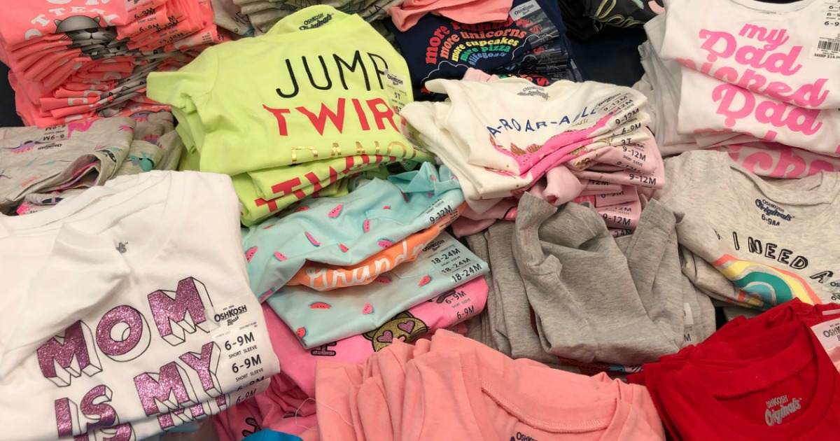 stacks of Carters girls tees in store