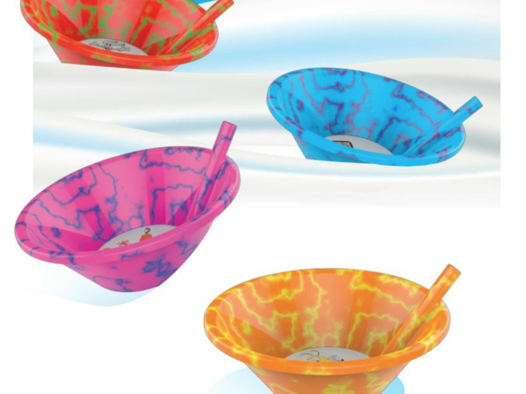 four colored cereal bowls